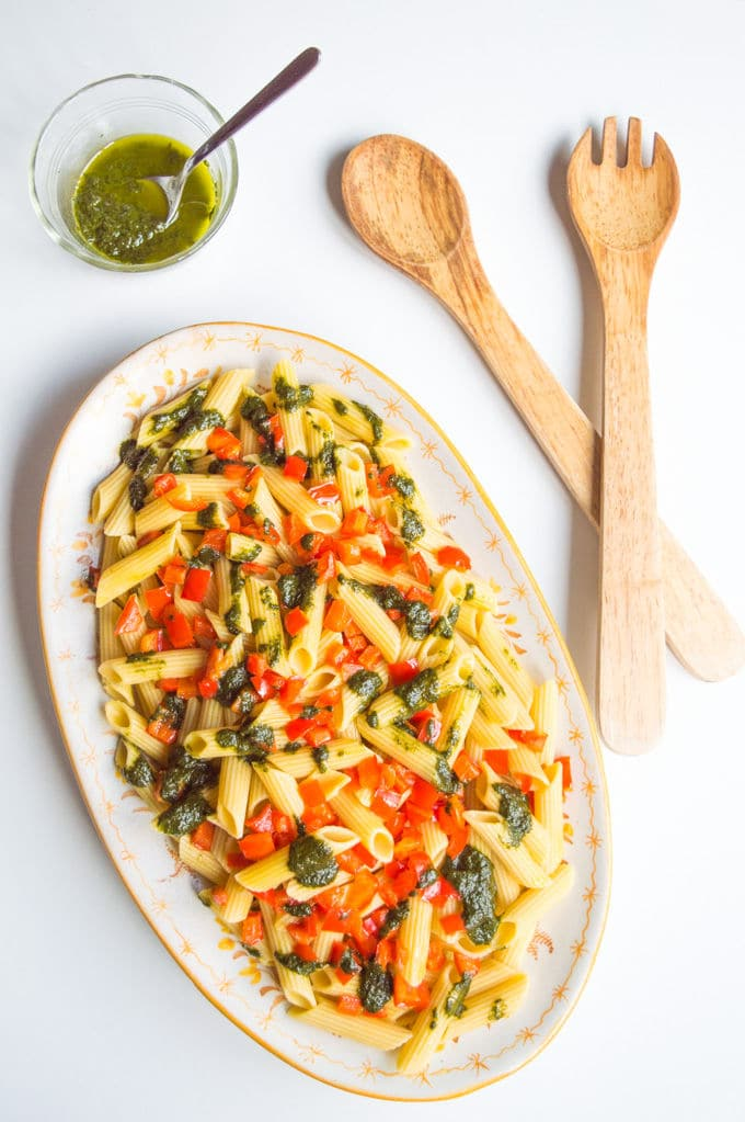 Red Pepper Pistou Pasta  #vegan #gf #lowfodmap