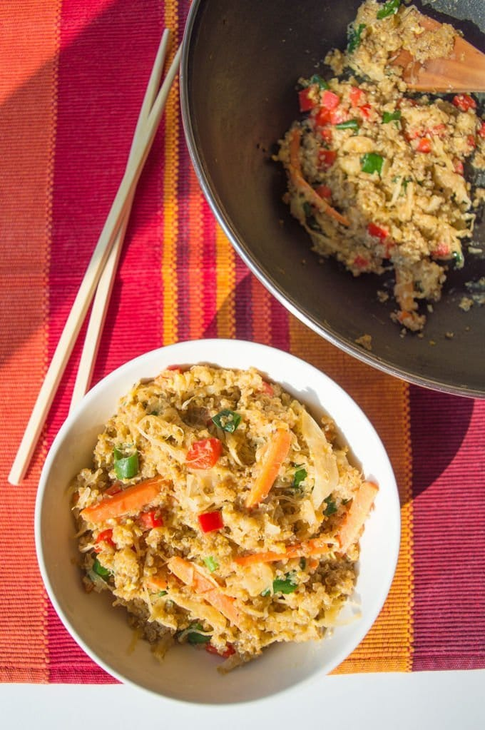 Quinoa Stir-Fry with Sauerkraut #glutenfree #lowfodmap